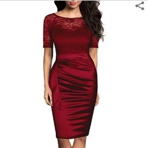 Dresses & Skirts - Beautiful cranberry lace top cocktail dress. Small